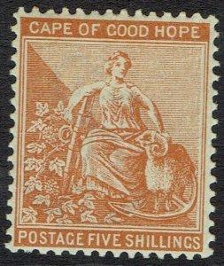 CAPE OF GOOD HOPE 1893 HOPE SEATED 5/- WMK ANCHOR