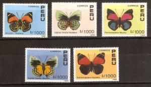 #989 PERU 1989-90,FAUNA BUTTERFLIES YV 923-7 MI 1419-23  MNH