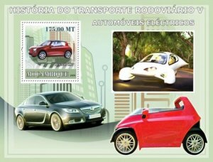 MOZAMBIQUE 2009 SHEET HISTORY OF ROAD TRANSPORT ELECTRIC CARS COCHES #5 moz9123b