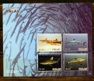 PALAU 2019 SHARKS OF PALAU SHEET OF FOUR MINT NEVER HINGED