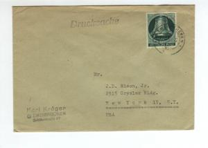 Germany  10pf Freedom Bell  on printed matter cover to NY