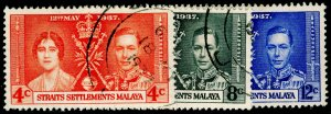 MALAYSIA - Straits Settlements SG275-277, COMPLETE SET, FINE USED. CORONATION.