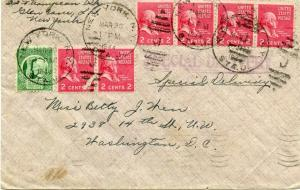 U.S. Scott 806 (5) Prexies/Prexys & 908 on First Class Special Delivery Cover