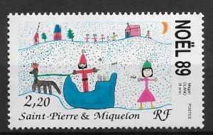 St.Pierre & Miquelon 1989, Christmas, Scott # 521,VF MNH**OG (SL-1)