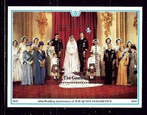 Gambia 733 MNH 1988 QEII 40th Wedding Anniv S/S