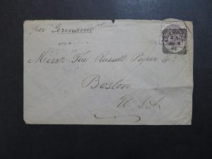 Great Britain 1886 Cover Liverpool to Boston / Light Creasing - Z8411