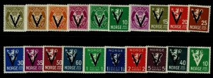 Norway SC# 220-239, Mint Hinged, Hinge Remnants, 227 horiz crease - S9404