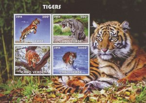 Cape Verde Tigers Wild Animals Jungle Souvenir Sheet of 4 Stamps Mint NH