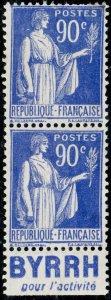FRANCE - 1938 Paire Yv.368a 90c Paix t.I Pub BYRRH pour l'activité - sans gomme