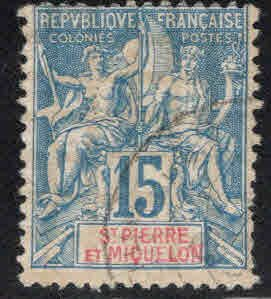 St. Pierre Miquelon Scott 67 Used stamp on Quadrille paper