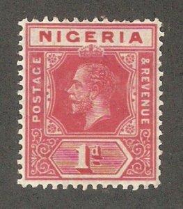 Nigeria 1914, KG-V, 1p, Scott # 2, VF Mint Lightly Hinged*OG (N-1)