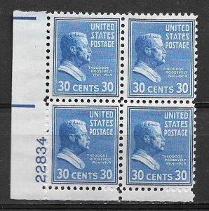 1938 Sc830 Theodor Roosevelt 30¢   MNH PB4