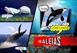 SAO TOME - 2019 - Whales - Perf Souv Sheet - MNH