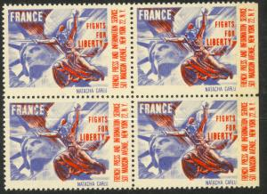 USA FRANCE 1941 FRANCE FIGHTS FOR LIBERTY NATACHA CARLU Label BLOCK OF 4 MNH