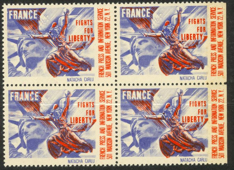 USA FRANCE 1941 FRANCE FIGHTS FOR LIBERTY NATACHA CARLU Label BLOCK OF 4 MNH