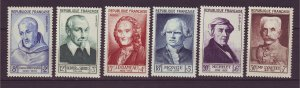 J24666 JLstamps 1953 france set mnh #b276-81 famous people $51.00 scv very nice