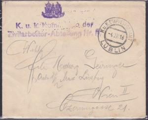 POLAND 1916 AUSTRIA Forces in LUBLIN cover with original letter to Vienna..53658