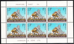 New Zealand 1967 MH Sc #B74a Minisheet of 6 Health stamps - Man and boy placi...