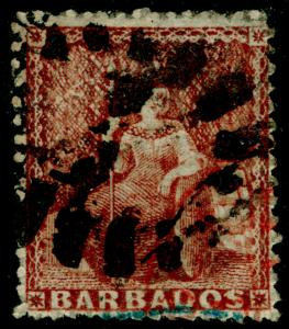 BARBADOS SG26, 4d Dull Brown-Red, USED. Cat £80.