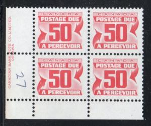 Canada Sc J40 1978 50c postage due stamp plate block of 4 LL mint NH