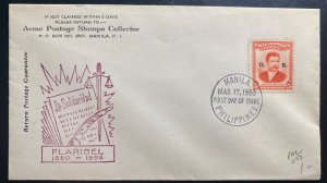 1952 Manila Philippines First Day Cover FDC Marcelo Del Pilar Issue