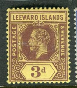 LEEWARD ISLANDS; 1921 early GV issue fine Mint hinged 3d. value,
