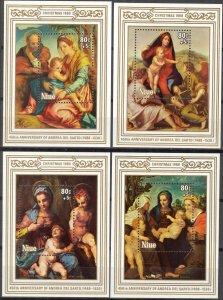 Niue 1980 Christmas Art Paintings Andrea Del Sarto  4 S/S MNH