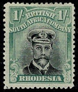 RHODESIA.1910-13 1/- BLACK & GREENISH BLUE DIE III SG271 MH Wmk.NONE P.11 VGC