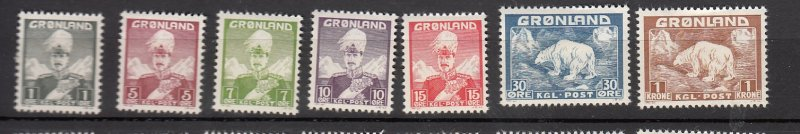 J26557 jlstamps 1938-46 greenland part of set mh/mhr #1-5,7,9 king/polar bears