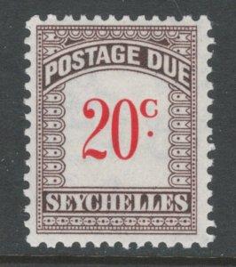 Seychelles 1951 Postage Due 20c Scott # J7 MH