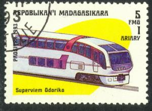 MALAGASY REPUBLIC 1993 5fr TRAINS Issue Sc 1200 VF CTO USED