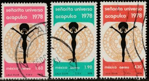 MEXICO C570-C572, Miss Universe Contest, Acapulco USED. F-VF. (1080)