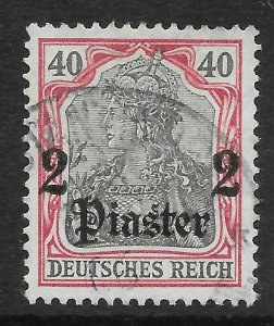 GERMAN P.O.'s IN TURKISH EMPIRE SG40 1905 2pi ON 40pf BLACK & CARMINE USED