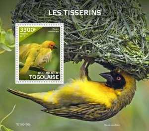 Stamps of Togo 2019. - Weavers (Ploceus castaneiceps). Block. Imperf.