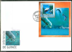 GUINEA  2014 SHARKS DOLPHINS  SOUVENIR SHEET FIRST DAY COVER