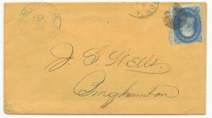 US Scott #86 E-Grill Tied on Cover Black Cork Cancel Bighamton, NY Feb 18, 1870