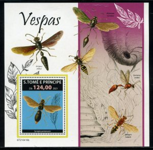 SAO TOME 2021 WASPS SOUVENIR SHEET MINT NEVER HINGED