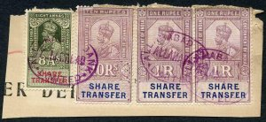 India KGV 4 x Share Transfer Revenue Stamps on piece