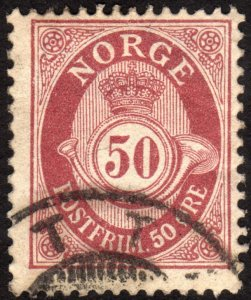 1901, Norway 50ö, Posthorn, Used, Sc 57