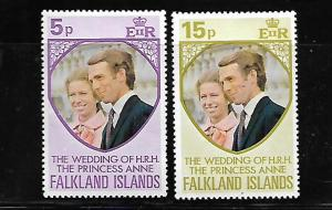 FALKLAND ISLANDS, 225-226, MNH, PRINCESS ANNE'S WEDDING