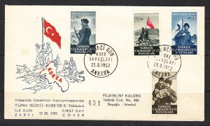 Z3889 1952 turkey in korean war fdc set #1079-82 soldiers
