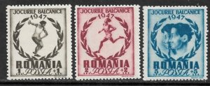 ROMANIA 1948 BALKAN GAMES Sports Semi Postal Set Sc B381-B383 MNH