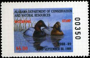 ALABAMA #10 1988 STATE DUCK CANVASBACKS by John Warr