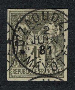 Mayotte 1 Fr Olive sur paille canc '2 Juin 1881' 1881 Canc