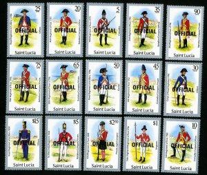 St. Lucia Stamps # O13-27 XF OG NH Catalog Value $32.10