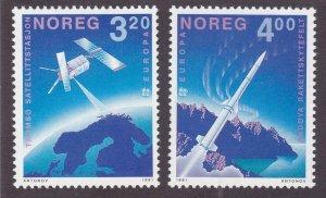 Norway 989-90 MNH 1991 Space Rockets EUROPA Set Very Fine
