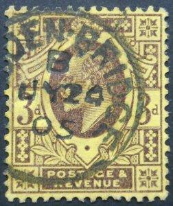 Great Britain 1902 EVII Three Pence SG 232 used