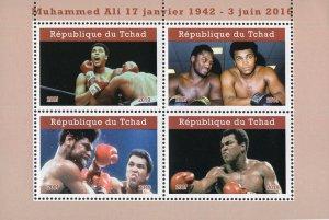 Chad 2019 Muhammad Ali Boxer Sports 4v Mint Souvenir Sheet S/S. (#117)