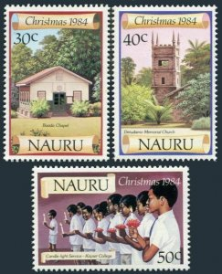 Nauru 300-302,MNH.Michel 299-301. Christmas 1984.Chapel,Church,Candle.