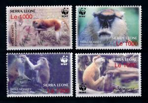 [75661] Sierra Leone 2004 Wild Life Monkeys WWF MNH